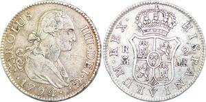 P0923 Spain 2 Reales Charles IV 1794 MF M Madrid Silver ->Make offer