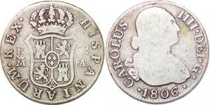 P0924 Spain 2 Reales Carolus IV 1806 FA Madrid Silver ->Make offer