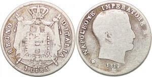 P0942 Scarce Italy 1 Lire Lira Napoleon 1814 M Milan Silver -> Make offer