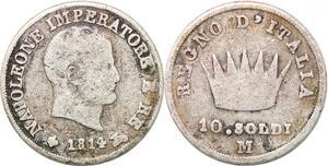 P0967 Italy 10 Soldi Napoleon I 1814 M Milan Silver -> Make offer