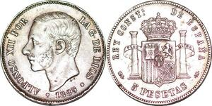 P0975 Spain 5 Pesetas Alfonso XII 1885 (87) MP M Madrid Silver ->M offer