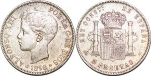 P0977 Spain 5 Pesetas Alfonso XIII 1898 1898 (98) SG V Madrid Silver ->M offer
