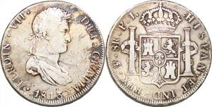 P0983 Scarce Bolivia 8 Reales Ferdinand VIIn 1813 PTS PJ Potosi Silver