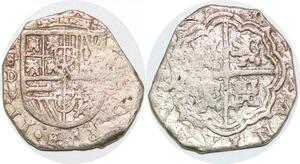 P0986 Scarce Mexico 2 reales Felipe V 1700-1746 Cob Colonial coinage Silver