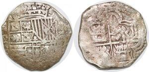 P0987 Scarce Potosi Bolivia cob 2 reales Philip III assayer R Silver