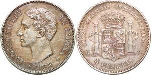 P1001 Scarce Spain 5 Pesetas Alfonso XII 1875 (75) DE M SilverXF++ > M offer