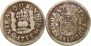 P1017 Mexico Spanish colony 1/2 Real Ferdinand VI 1755 Silver ->M offer