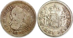 P1022 Mexico Spanish Colony 1/2 Real Charles III 1772 Mo FM Silver ->Make offer