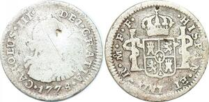 P1025 Mexico Spanish Colony 1/2 Real Charles III 1778 Mo FF Silver ->Make offer
