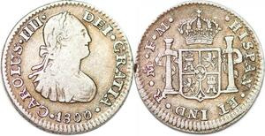 P1026 Mexico Spanish Colony 1/2 Real Charles IV 1800 Mo FM Silver XF+ ->M offer