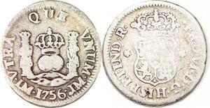 P1027 Mexico Spanish colony 1/2 Real Ferdinand VI 1756 Silver ->M offer