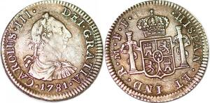 P1029 Scarce Mexico 1/2 Real Charles III 1781 FF Silver AU + Incuse letters ->