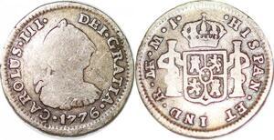P1030 Peru 1/2 Real Charles III 1776 Limae MJ Silver ->Make offer