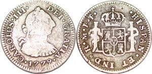 P1032 Mexico Spanish Colony 1/2 Real Charles III 1779 Mo FF Silver ->Make offer