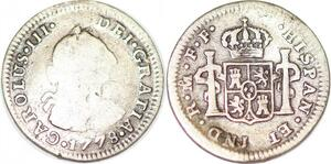 P1034 Mexico Spanish Colony 1/2 Real Charles III 1778 Mo FF Silver ->Make offer