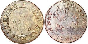 P1039 Guyane French Colonies Louis XV 2 sous Cayenne 1789 A Paris