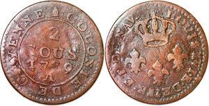 P1042 Guyane French Colonies Louis XV 2 sous Cayenne 1789 A Paris Fab Locale