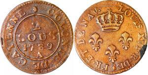 P1044 Guyane French Colonies Louis XV 2 sous Cayenne 1789 A Paris Fab Locale