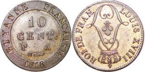 P1047 Rare Guiana French Colonies 10 Centimes Louis XVIII 1818 A Paris UNC