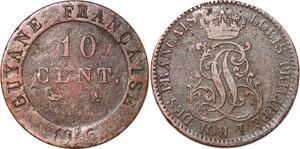 P1050 Guiana French Colonies 10 Centimes Louis Philippe 1846 A Paris