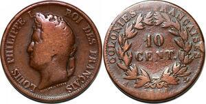 P1057 French colonies 10 Centimes Louis Philippe 1841 A Paris -> Faire offre