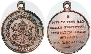 P1096 Scarce Medal Vatican Pie IX 1846 1878 Austrian Troops Papal states 1849