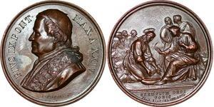 P1100 Medal Vatican Papal States Pie IX Bianchi Exemplvm Dedi Vobis UNC