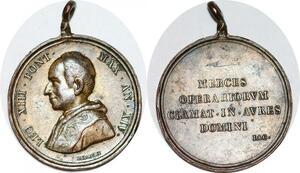 P1102 Medal Vatican Leone XIII 1878 1903 Novarum straordinaria 1891 Silver