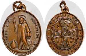 P1104 Medal Papal States Vatican St Benedictvs Benedict Crux CSSML DMSDN