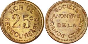 P1109 Scarce 25 centimes Epreuve Essai Société Anonyme Grande Comore 1915 AU