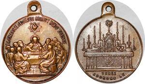 P1122 Médaille Religion Christianisme Charité Jesus Christ nous presse