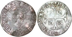 P1135 Henri IV Douzain 2ème type 1592 C Saint-Lô ->Faire offre