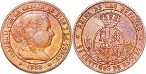P1152 Spain 2-1/2 Centimos Isabel II 1868 OM ->Make offer