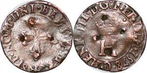 P1156 Très Rare Henri III Liard au H couronné 1578 D Lyon Date en Bas