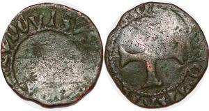 P1160 Rare Denier Dauphiné Louis II Obole 1445-1456 Erreur Ludovisus