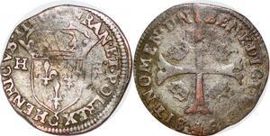 P1162 Henri III Douzain aux 2 H 1er type Saint-Lô ->Faire offre