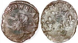P1164 Rare Henri IV Liard au H Croix Saint Esprit 1600 Chambéry