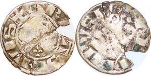 P1203 Rare Philip II Auguste Denier parisis 1er type 1191-1199 Arras silver