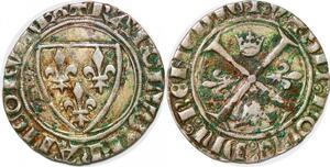P1244 Rare blanc guénar Charles VI Romans Argent Silver ->Make offer