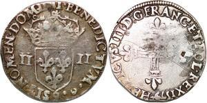 P1257 Rare 1/4 Ecu Henri III Roi Pologne 1579 9 Rennes Argent ->Faire offre