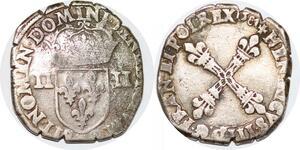 P1260 Rare 1/4 Ecu Henri III Roi Pologne 1581 P Dijon Argent ->Faire offre