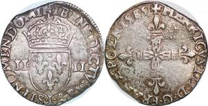P1261 Rare 1/4 ecu Henri III 1585 L Bayonne frappe médaille Argent