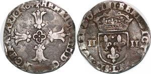 P1262 Rare 1/4 ecu Henri IV 1604 L Bayonne Argent ->Faire offre