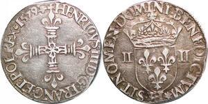 P1263 Rare 1/4 Ecu Henri III Roi Pologne 1579 H La Rochelle Argent