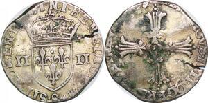 P1264 Inedit 1/4 Ecu Henri III croix  feuillue S Troyes Argent ->Faire offre