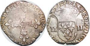 P1265 Rare 1/4 Ecu Louis XIII 1623 B Rouen Argent ->Faire offre