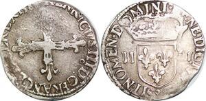 P1267 1/4 Ecu Henri III 158- 9 Rennes Argent Silver ->Faire offre
