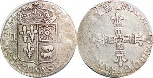P1271 Rare 1/4 Ecu Louis XIII 1621 Fleurdelisée Bearn Frappe médaille Argent