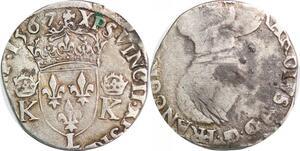 P1274 Rare Teston Charles IX 1560-1574 3rd type 1567 L Bayonne Argent ->F offre