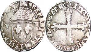P1281 Henri III 1/8 Ecu 1588 T Nantes Silver ->Faire offre